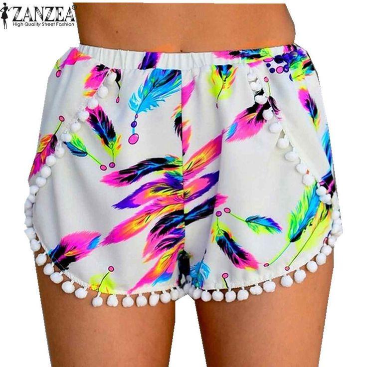 Pretty Hot Zanzea Floral Printed Pom Pom Hem High Waisted Tassel Beach Shorts