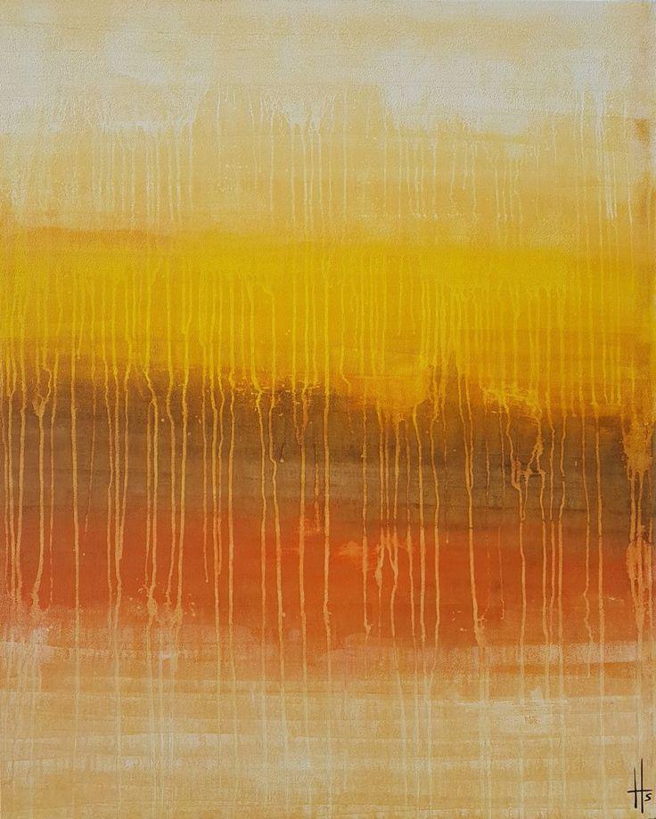 Grand tableau abstrait contemporain vertical - Peinture,  80x100x4,5  ©2017 par Sandrine Hartmann -                            Art abstrait, abstrait, coulures, original, grand, marron, orange, jaune, art, painting, français