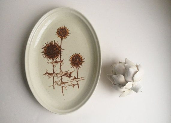 Mid century modern platter brown thistle by TheHaystackNeedle1