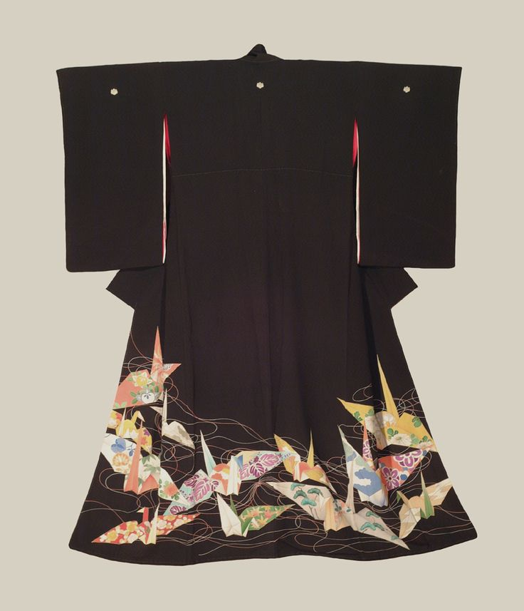 Tomesode (formal kimono). Taisho period (1912-1927), Japan. A silk tomesode featuring 'orizuru' (paper-crane) motifs worked with yuzen resist dyeing, brush-painting and surihaku gold-foil outlining....