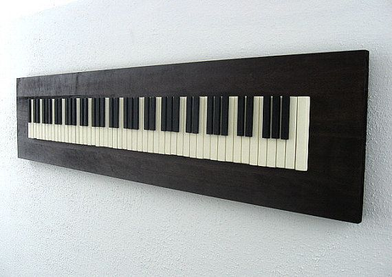 Rustic Wood Sculpture - Piano Keys - 12x48 - Up-cycle an old piano by making wall art <3