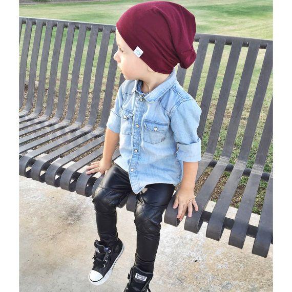 Faux leather baby leggings/ Trendy baby boy by PoshKiddosapparel