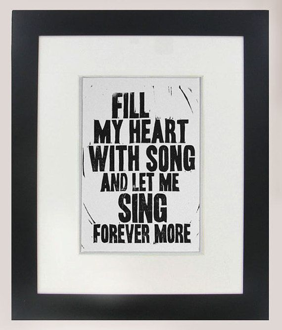 Fill My Heart with Song lyric linocut print Frank Sinatra by VideoUnit12 printmaking relief art