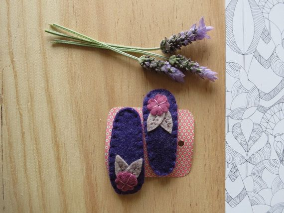 Hand Embroidered Hair Clips