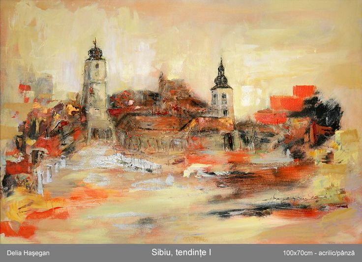 Acril mixt pe panza.Orasul meu in pictura sub amprenta culorii...