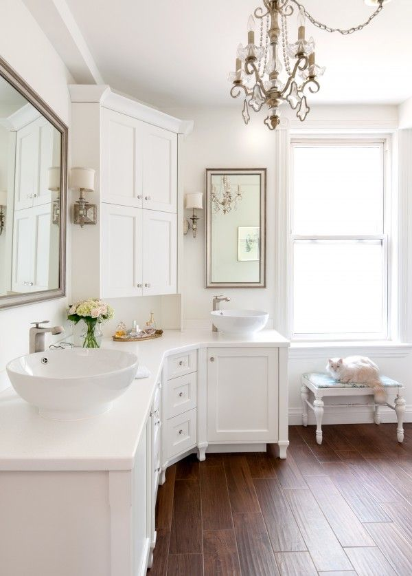 White Bathroom with Wood Look Tile Flooring ... by Creating Contrast Design