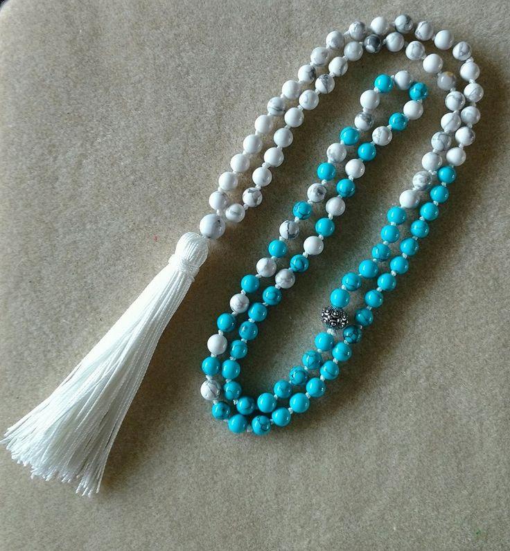 Awareness Mala #1  White and Blue Howlite