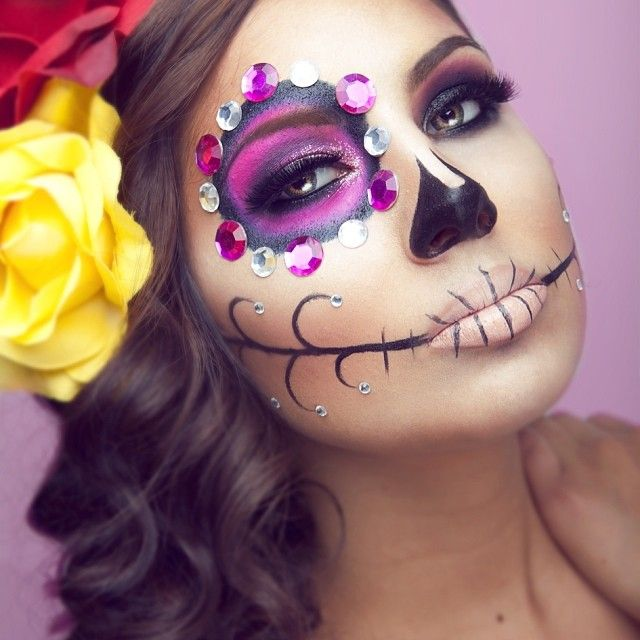 Sugar skull face paint.  Dia de muertos-Mexico, cultura, tradicion - Calavera Catrina Day of the death