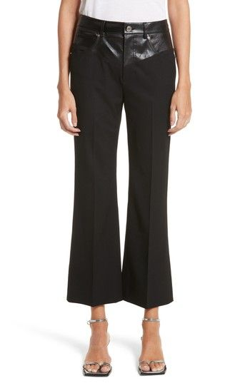 d37b97211a1ebe HELMUT LANG TEXTURED SUITING & LEATHER GARTER FLARE PANTS. #helmutlang  #cloth #