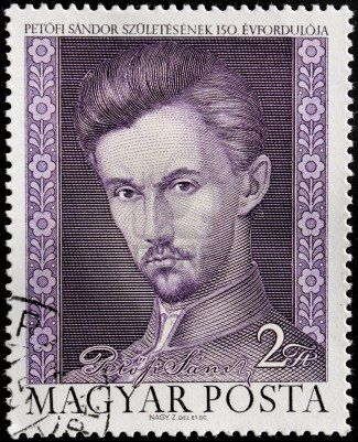HUNGARY - CIRCA 1972. A postage stamp printed by Hungary shows image portrait of  famous Hungarian poet and liberal revolutionary Sandor Petofi (1823-1849).