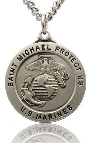 St Michael US Marine Corps Sterling Silver Medal With Rhodium Plated Nickel Chain
