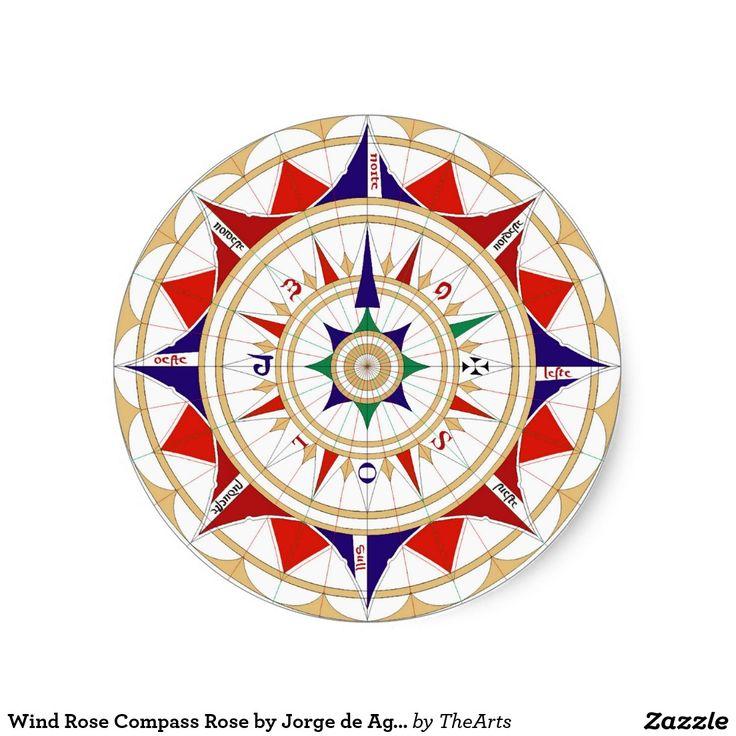 Wind Rose Compass Rose by Jorge de Aguiar in 1492 Round Sticker