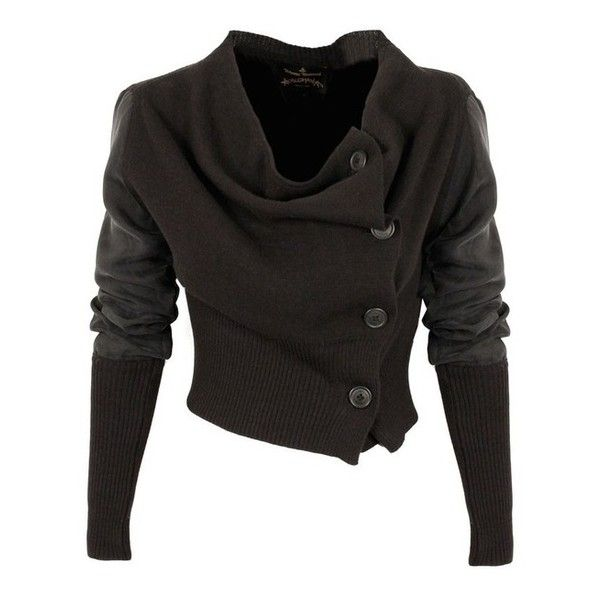 Post Apocalypse / Vivienne Westwood Anglomania Drape Cardigan | GarmentQuarter ($440) via Polyvore found on Polyvore featuring tops, cardigans, jackets, shirts, outerwear, sweaters, draped cardigan, vivienne westwood anglomania, drapey cardigan and drape top