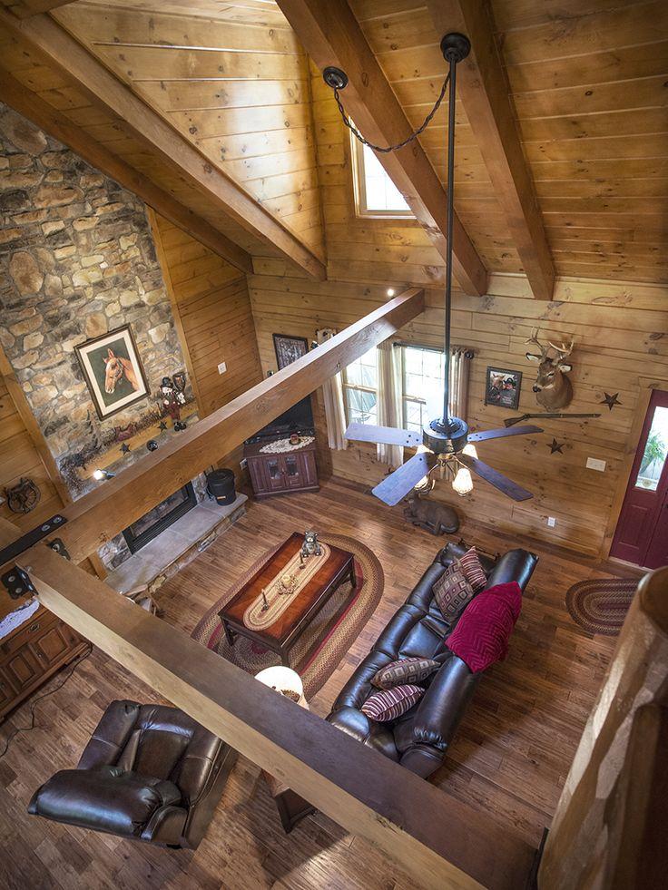 Balcony/loft view in a Hochstetler Log Home | Log homes ...