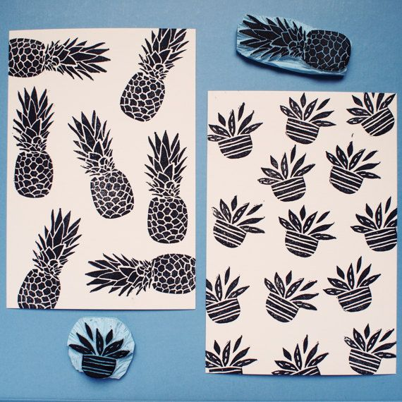 Patterns  Ananas  Cacti  Fish  Handcarved & by PaprikaPaperGoods