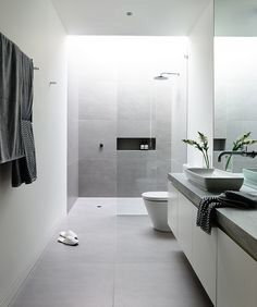 Light grey and white bathroom see more at: http://contemporarylighting.eu/2016/05/24/contemporary-lighting-ideas-modern-kitchen/