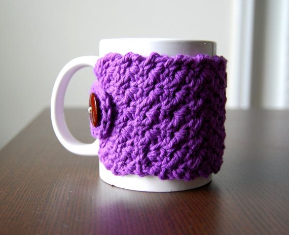 Beautiful cotton purple cup cozy for your coffee mug!