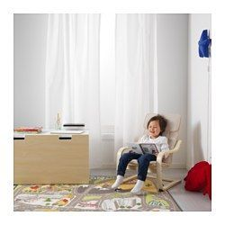IKEA - POÄNG, Children's armchair, birch veneer/Almås natural,  , , Easy to keep clean since the cover can be machine washed.Matches POÄNG armchair in adult size.