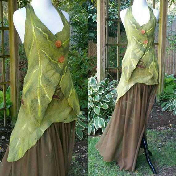 Nuno Felted Woodland Fairy Dress in Brown and Green. Elven Pixie Skirt and Top. Felted Leaf Fairy Costume Adult. Ready to ship.  Art To Wear