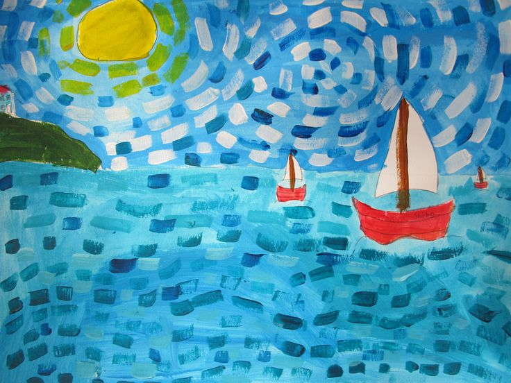 Take a look at these wonderful seascapes painted in one of today's workshops! Do you think your child would enjoy taking part?  Book online at www.FineArt4kids.com