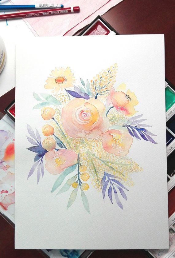 """Watercolor Flowers Summer Bouquet Original Watercolor Flowers """"Summer Bouquet"""" Original Watercolor a floral painting w/ Yellow Poppies and Peach Roses surrounded by Purple Leaves #watercolorflowers #watercolororiginal #watercolorgifts #watercolorhomedecor #floralwallart #yellowpoppies #peachflowers #peachroses  30 x 21 cm /12,2 x 8,3 inch on cold press artistic watercolor paper 200g/m²"""