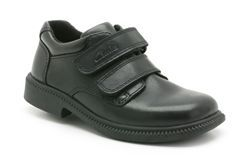Deaton Inf, Black Leather, Boys School Shoes