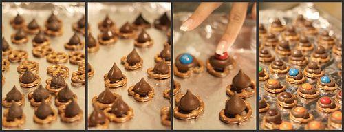 Pretzles, hersheys kisses, peanut butter m&ms...yummy!