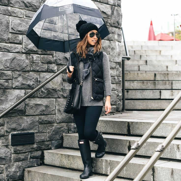 Halogen sweater, J.Crew vest, Zella leggings, Hunter Tour rain boots, Rebecca Minkoff small feed bag, Caslon cashmere scarf, Canada Goose beanie, Hunter umbrella, Ray-Ban black aviators