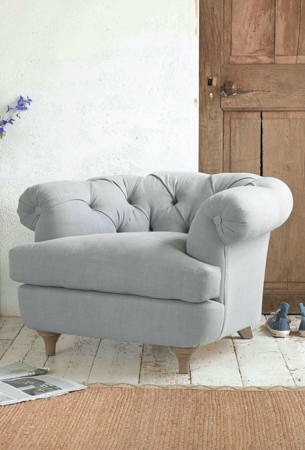 There's been so much love for our Bagsie Chesterfield-style love seat we decided to create a smaller version. This deep buttoned back classic armchair has a lower back but the comfy factor is still as high. Upholstered here in Sea Salt vintage linen and available in over 120 gorgeous cottons, wools, velvets and linens.