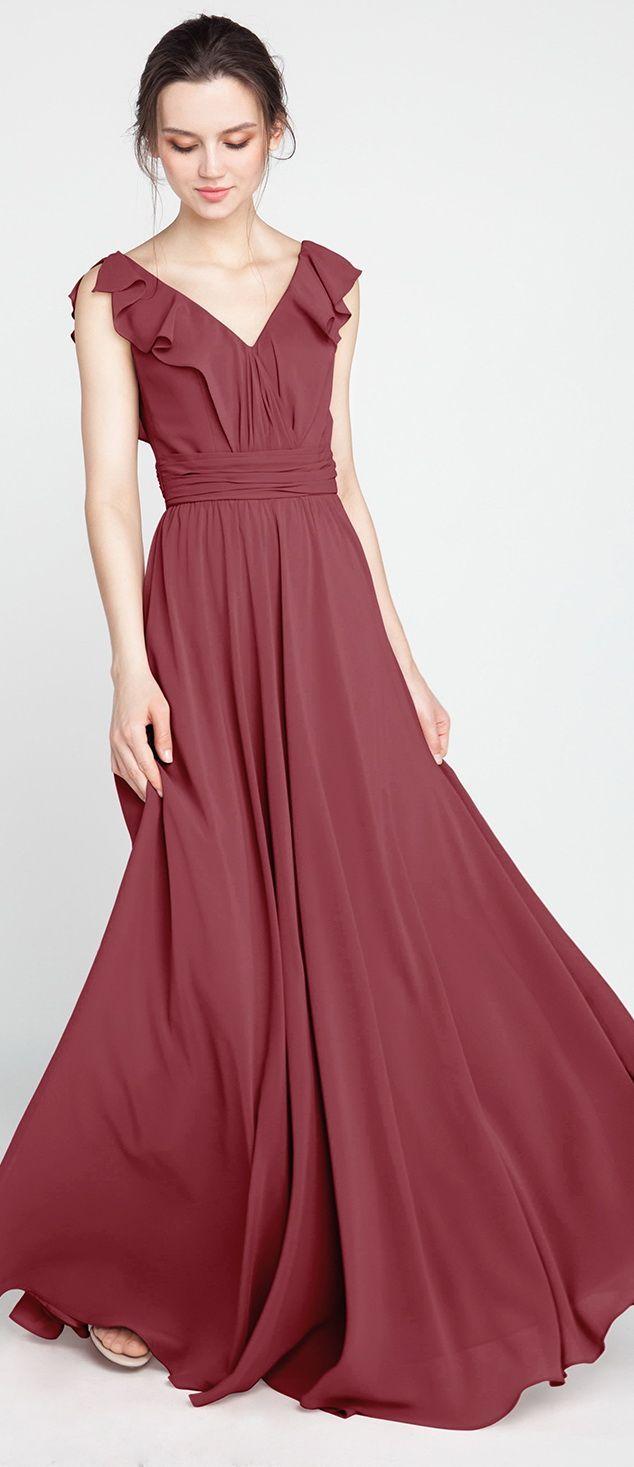 db8b53ee880a canyon rose bridesmaid dresses with ruffles  wedding  weddinginspiration   bridesmaids  bridesmaiddress  bridalparty  maidofhonor  weddingideas ...
