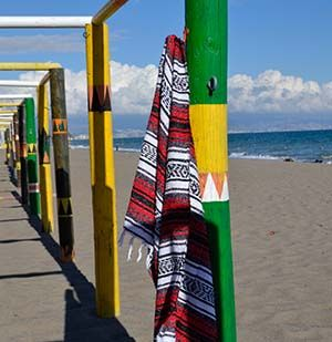 Mexicaanse falsa deken op het strand van Torremolinos.