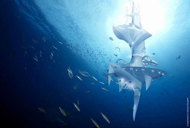 Comme un iceberg, le Sea Orbiter aura une importante partie immergée. Bien qu'il soit capable de se déplacer de manière autonome, il n'est pas un navire mais plutôt une station dérivante. Pour de longues durées, une équipe d'océanographes pourra mener ses expériences et ses observations, sous l'eau et au laboratoire. © Sea Orbiter