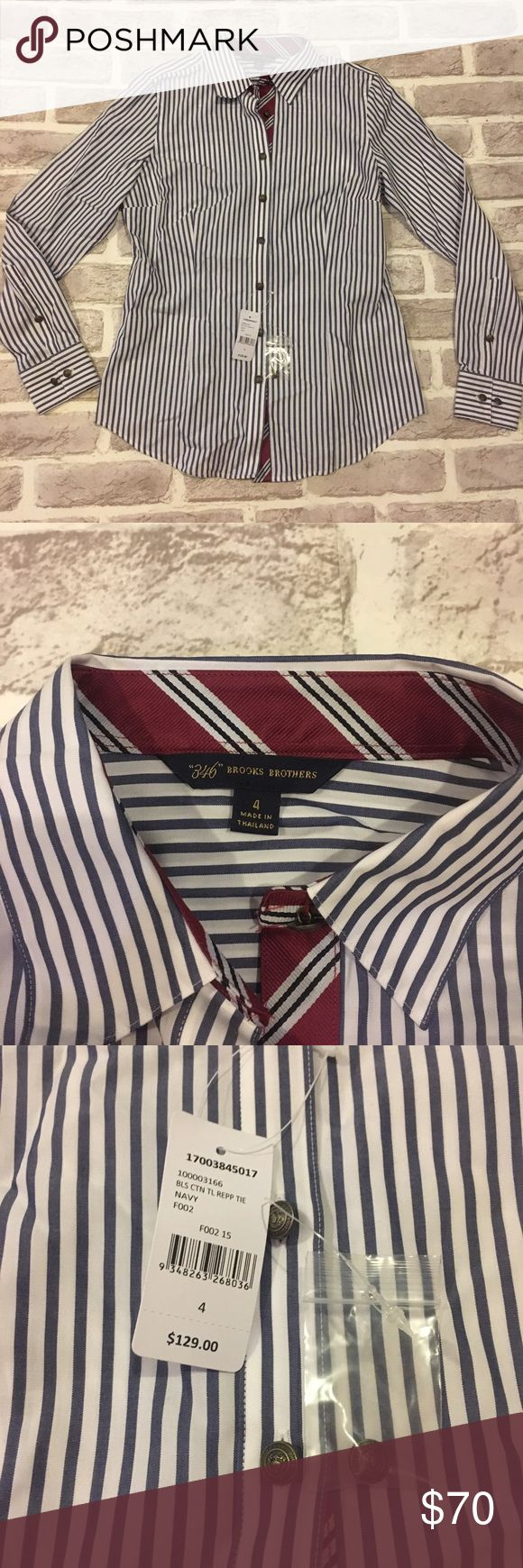 Brooks Brothers Long Sleeve Striped Blouse NWT Brooks Brothers striped blouse in blue and white. Brooks Brothers Tops