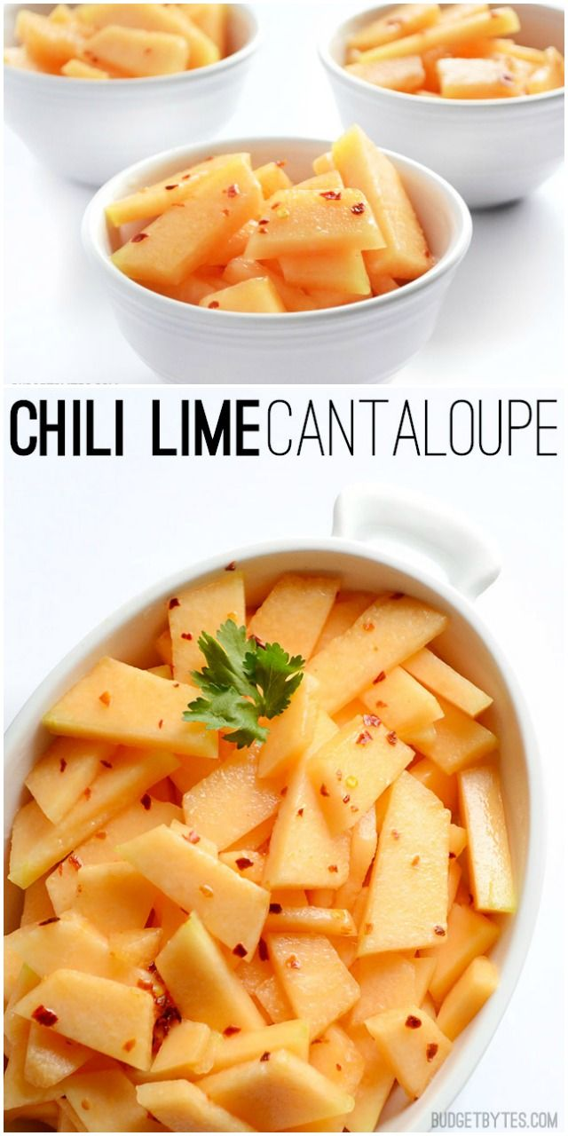 A little sweet, a little spicy, and a little savory. This Chili Lime Cantaloupe is the perfect summer side dish. #vegetarian #summereats