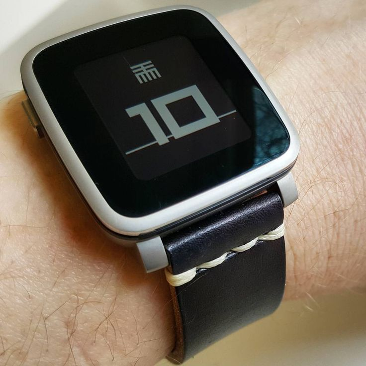 "Pebble Style on Instagram: """"drawttmm"" #Watchface on #PebbleTimeSteel with a @primria black leather #watchband"""