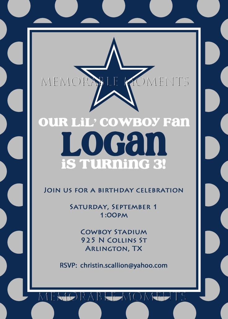 26 best BABY SHOWER INVITATIONS images – Dallas Cowboys Party Invitations