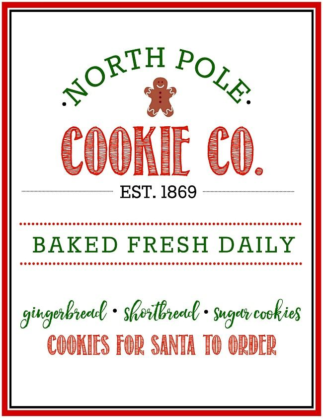 Free North Pole Cookie Co Christmas Printable My Stuff Printables