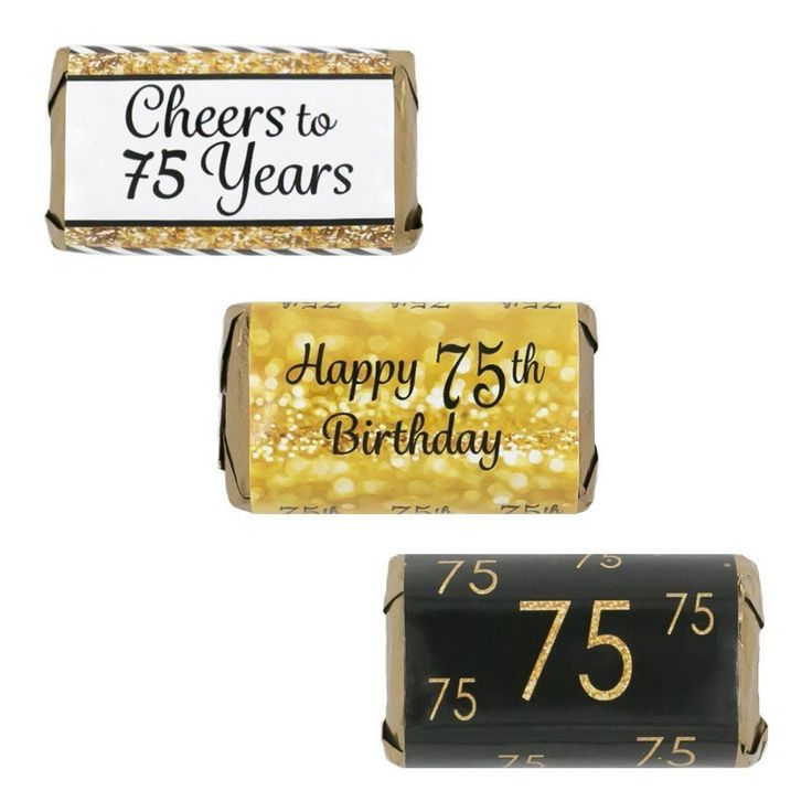 75th Birthday Party Decorations - Gold & Black - Stickers for Hershey's Miniature Bars (Set of 54)