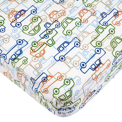 "Babies R Us Transportation Percale Crib Sheet - Green/Blue - Babies R Us - Babies ""R"" Us"