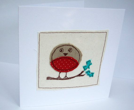 Handmade Christmas Robin Card  Machine Embroidered by Nikelcards, £2.95