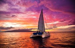 Sunset cruise on Trilogy in Maui. If you go there, this is a great company, we loved sailing with them!