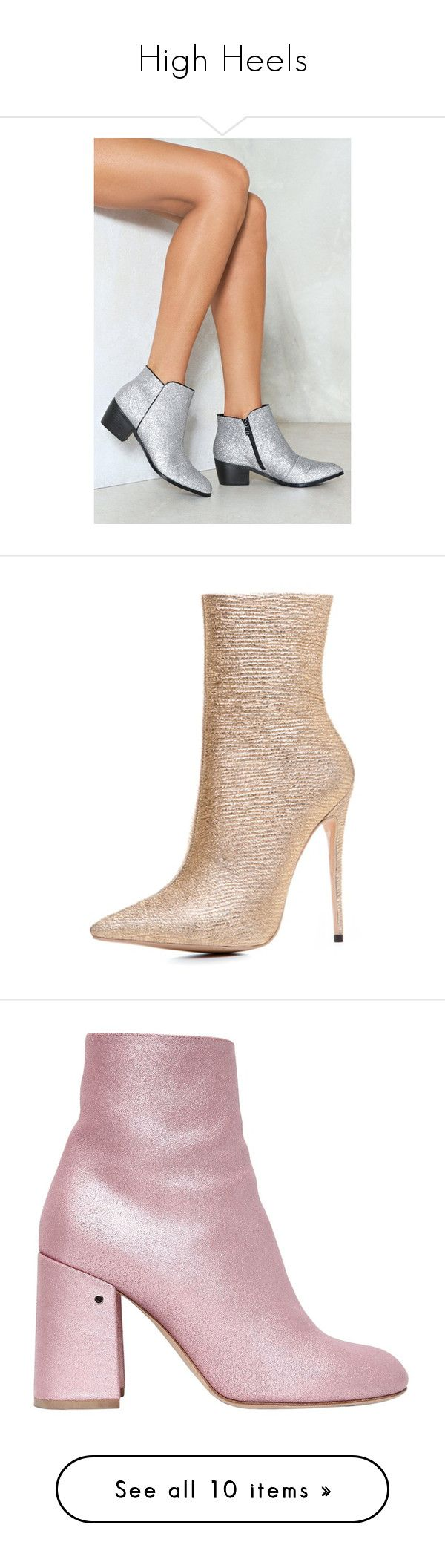"""""""High Heels"""" by eblessid ❤ liked on Polyvore featuring shoes, boots, ankle booties, silver, glitter ankle boots, zip boots, zipper ankle boots, zipper boots, almond toe ankle boots and glitter shoes"""