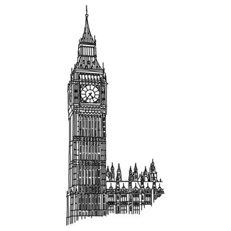 """Vinilo decorativo """"Big Ben"""" de Londres (Inglaterra - Europa), la gran campana del reloj del Palacio de Westminster.Clock Tower, el reloj de las cuatro caras más grande del mundo, data de 1859 y está listo para decorar tu pared!"""