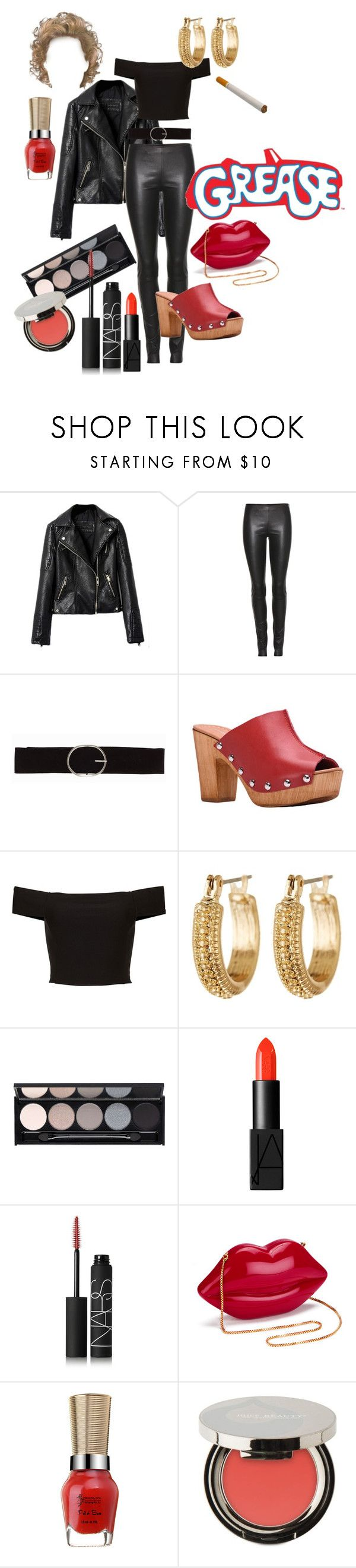 """""""Sandy Olsson (Grease) costume"""" by mariavittoria-7 ❤ liked on Polyvore featuring The Row, Vero Moda, Charles David, Melrose & Market, ETUÍ, Witchery, NARS Cosmetics, Lulu Guinness and Juice Beauty"""