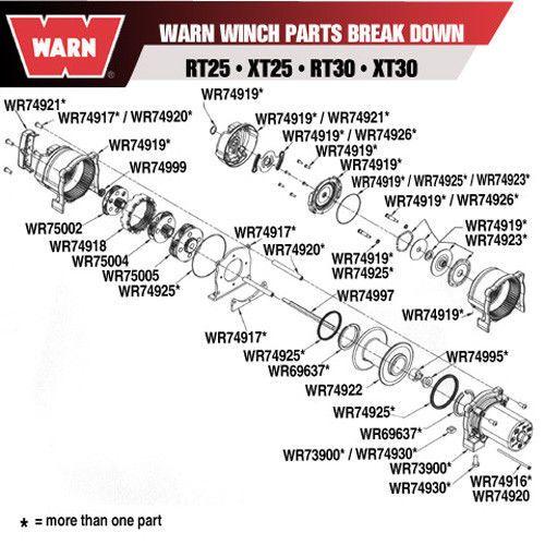 Warn 74919 Winch Gear End Housing W Brake Assembly Clutch Cover Warn Winch Winch Warn