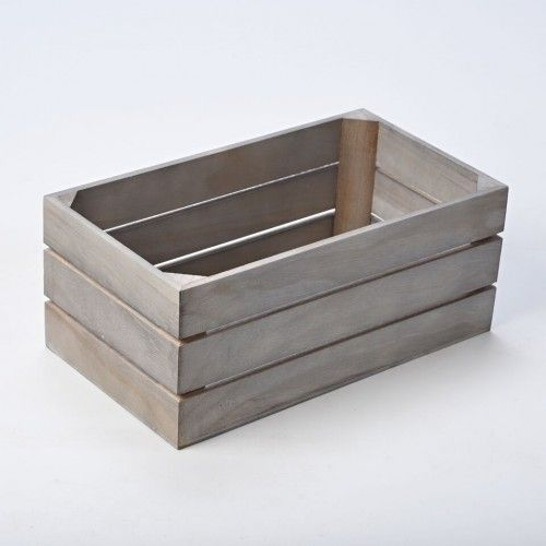 Slim GREY Wooden Crate 34cm - for packaging, display or storage WBM1612 - Wooden Crates & Apple Boxes - Plain Wooden Boxes | The Wooden Box Mill