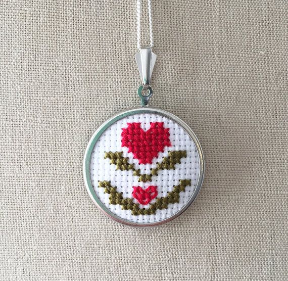 Hello!  This listing is for one cross stitch heart necklace designed and made by me! The pendant measures 30mm diameter without the bail and is