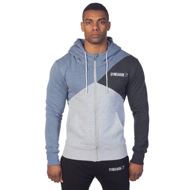 GymShark Fit Tri-Panel Thermal Hoodie - Blue Mens hoodies | GymShark International | Innovation In Fitness Wear (L)