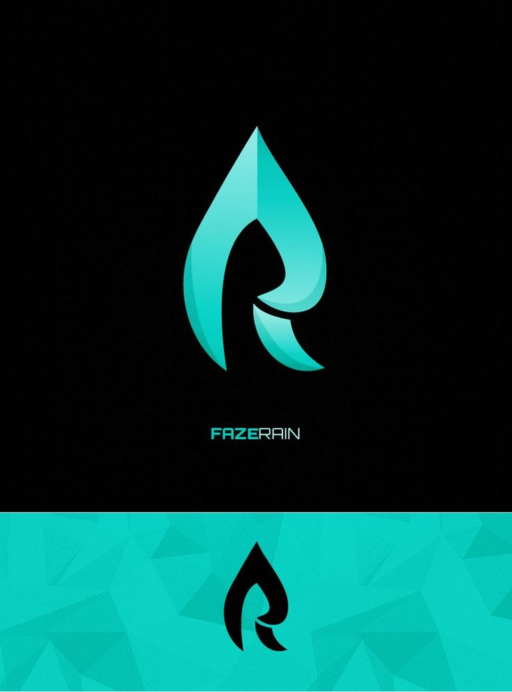 Winning logo completed for Faze Rain's logo competition. Concept is a mix between an R and a raindrop.