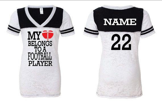 My Heart Belongs to a Football Player  by GraphicsUnlimitedLLC, $25.00